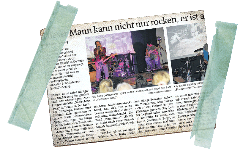 Beitragsbild - Nachbetrachtung Lesung und Konzert in Demmin in der Demminer Zeitung